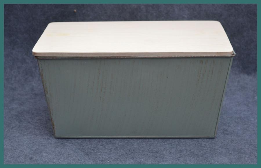 "Metal - Rectangular  Garden Bucket with Wood Lid 13"" x 8"" x 6"" (TMA74391)"