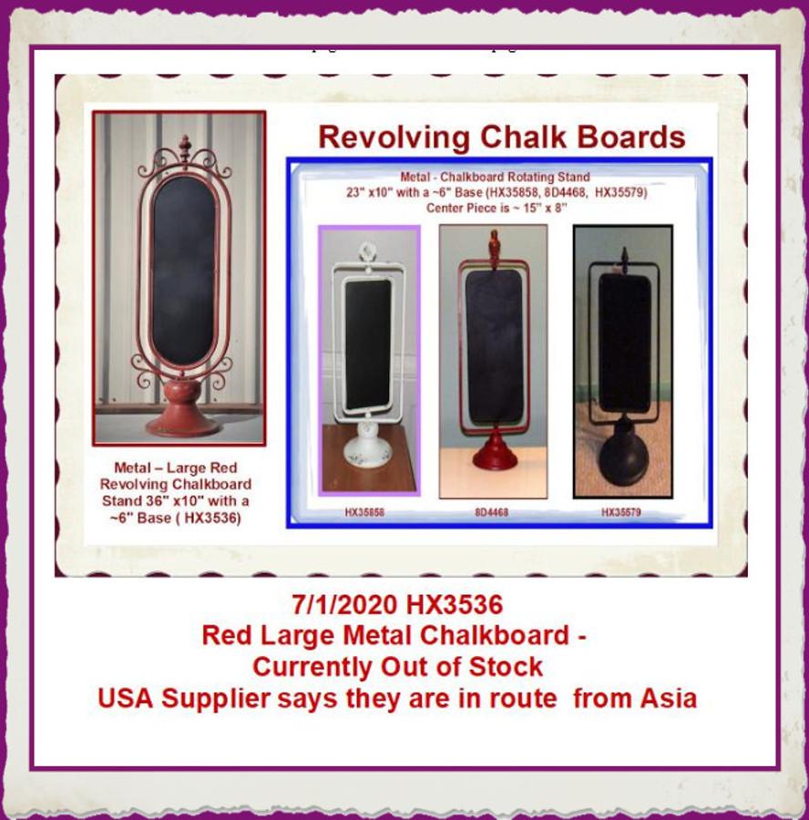 "Metal -  Chalkboard Rotating Stand 23"" x10"" with a ~6"" Base  (HX35858, 8D4468, HX35579, HX3536) List Price $45.00 / $48.00"