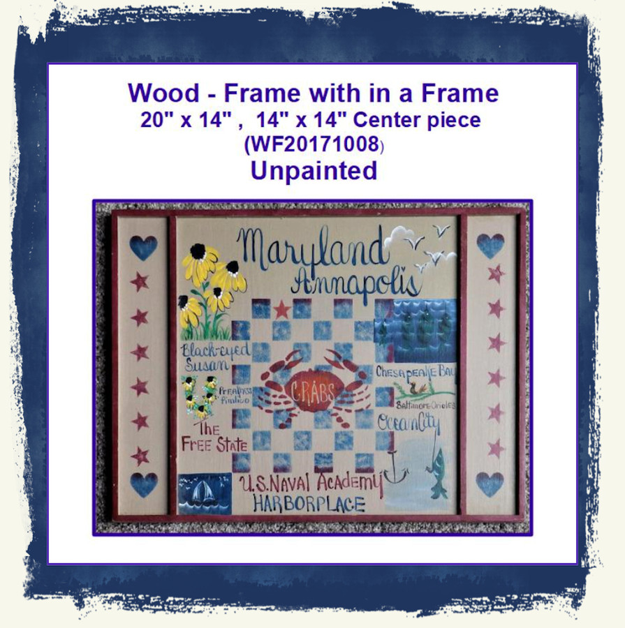 "Wood - Frame with in a Frame 20"" x 14"" , 14"" x 14"" (WF20171008) List Price $20.00"