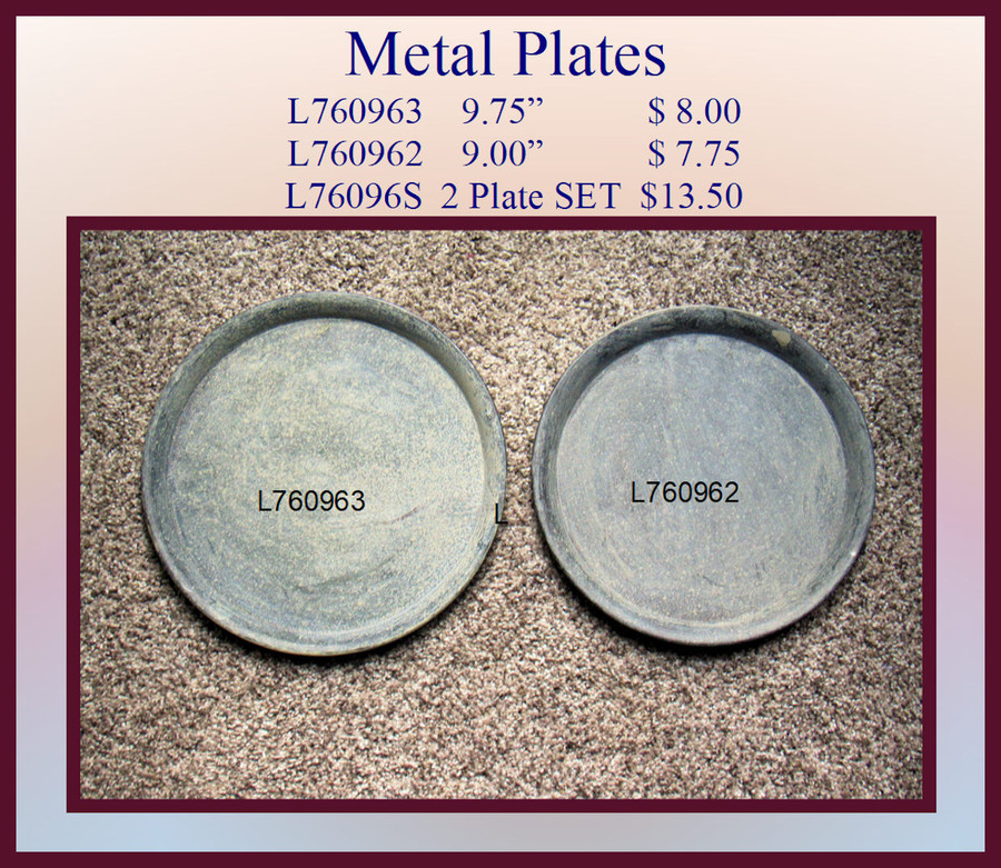 """Plate - Round Metal Plates 9.75"""" and 9.00"""" (L76096X)"""