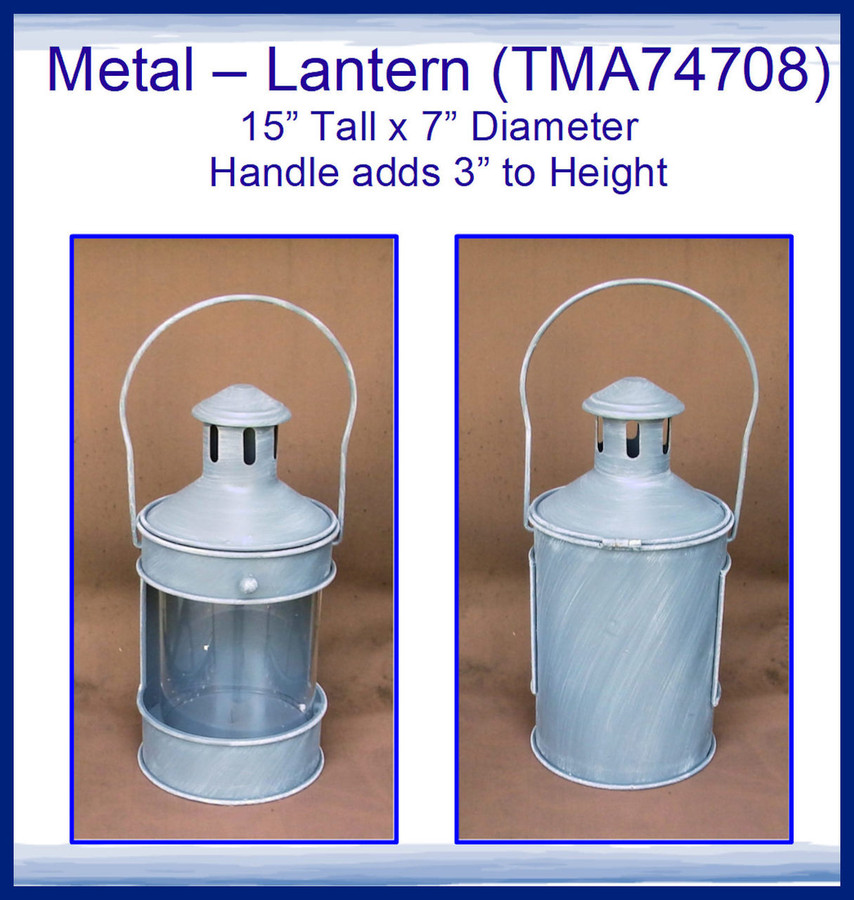 """Metal - Lantern 15"""" x 7""""  (TMA74708) OUT OF STOCK EXPECTED BACK January 2019"""