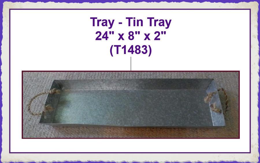 "Tray - Tin Tray 24"" x 8"" x 2"" (T1483) List Price $24.00"