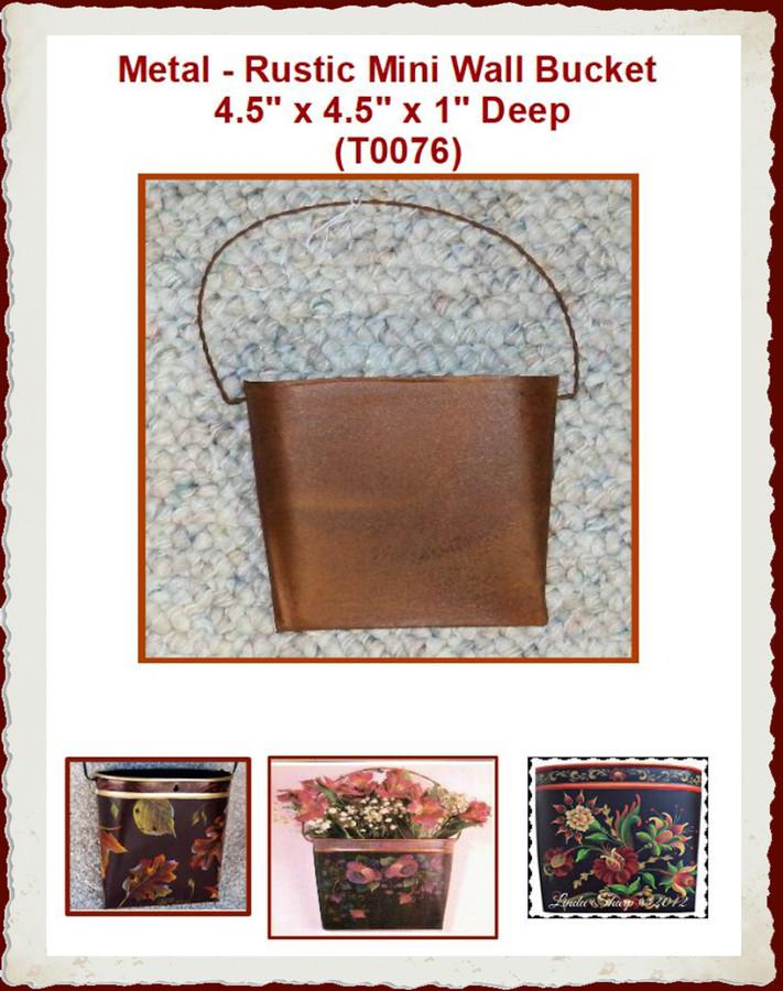 """Metal - Rustic Mini Wall Bucket/ Pocket 4.5"""" (T0076)"""