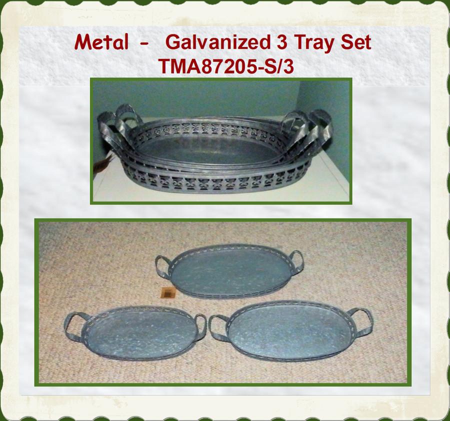 """Tray - 3 Trays Galvanized Tray Set ~ 14.5"""" x ~9.75"""" (TMA87205-S/3)"""