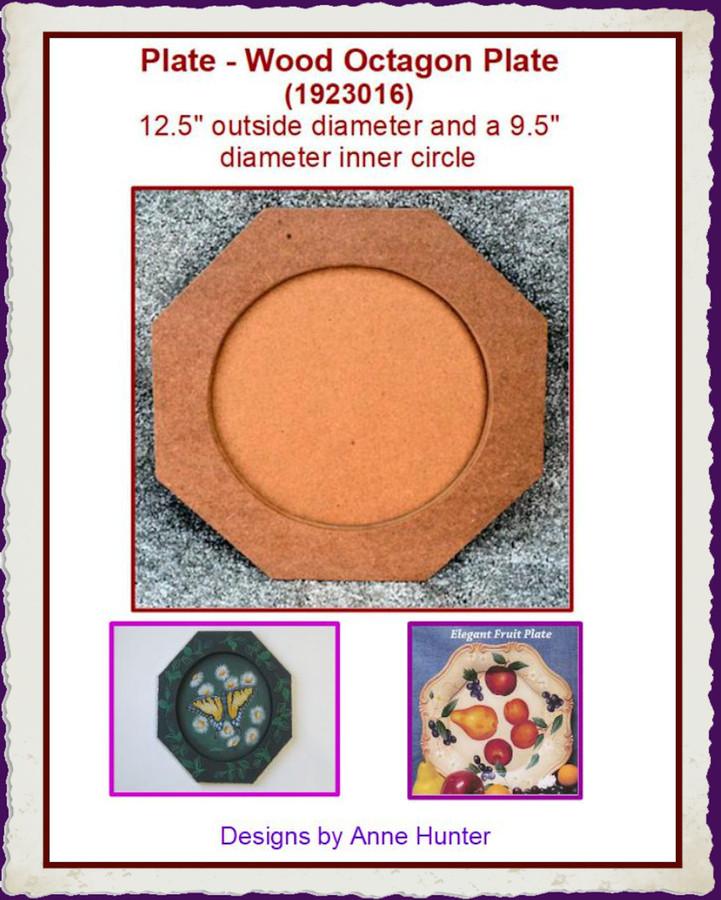 "Plate - Wood Octagon Plate 12 .5"" Diameter (1923016) List Price $16.00"