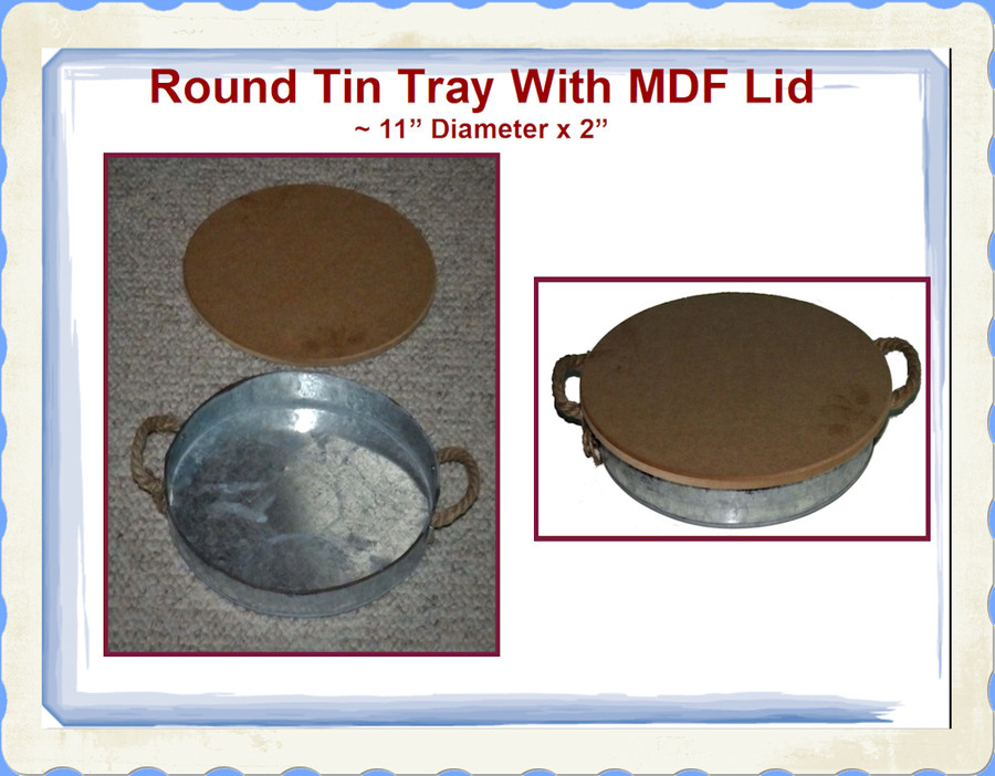 "Tray - Round Tin Tray with MDF Lid ~11"" x 2"" (TMA87545)"