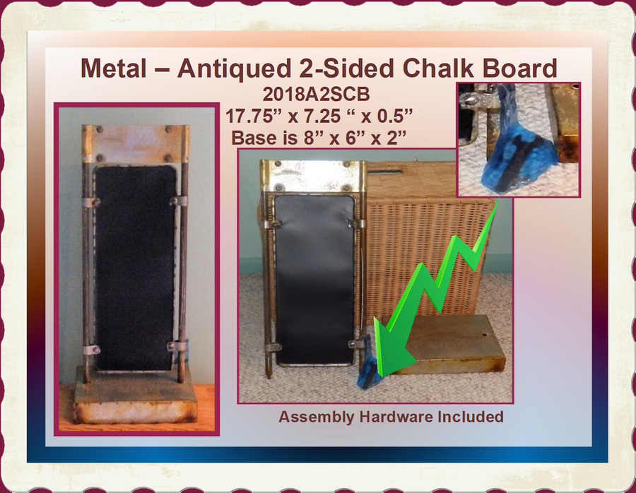 """Metal - 2-Sided Antiqued Chalkboard ~ 19"""" x 7"""" x 6"""" (2018A2SCB) List Price $26.00"""