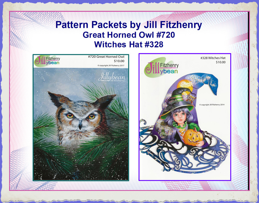 PP - Pattern Packets by Jill Fitzhenry - GreatHorned Owl and Witches Hat List Price $10.00