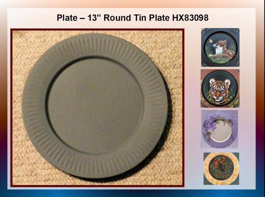 "Plate – 13"" Round Tin Plate (HX83098)"
