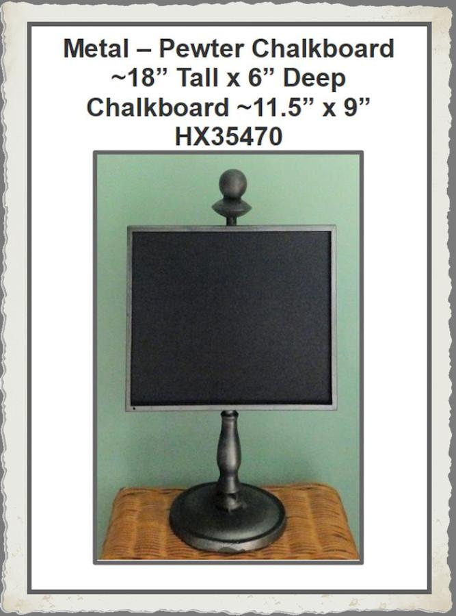 """Metal - Pewter Chalkboard Stand ~18"""" x 11.5"""" x 6"""" (HX35470) List Price $45.00"""