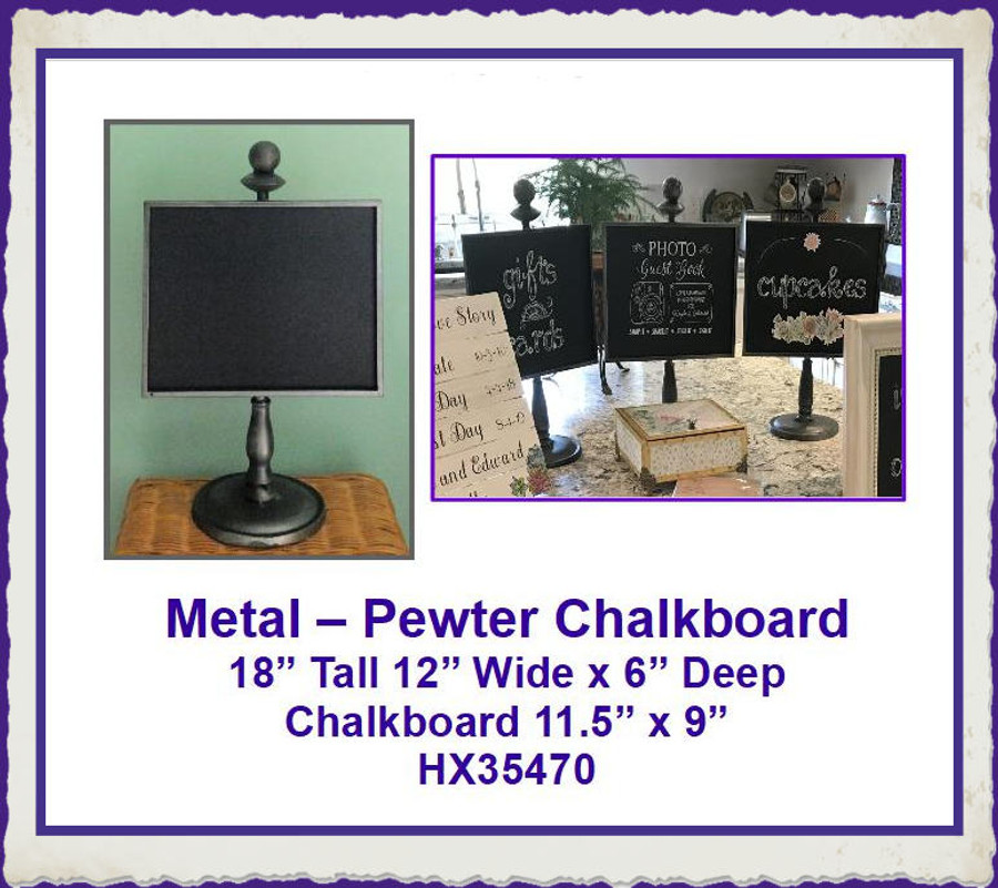 """Metal - Pewter Chalkboard Stand ~18"""" x 12"""" x 6"""" (HX35470) List Price $42.00"""