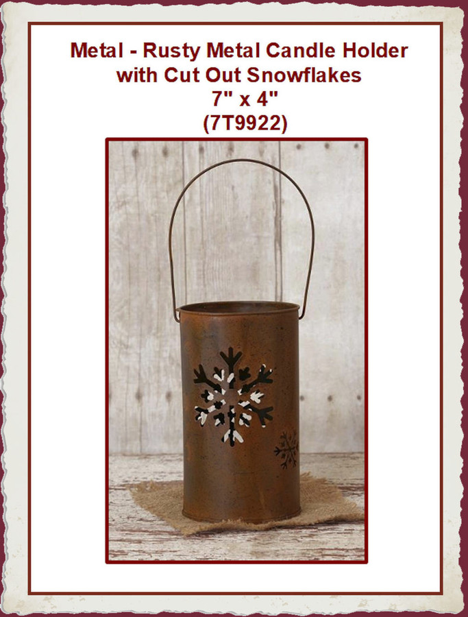 """Metal - Rusty Metal Candle Holder with Cut Out Snowflakes 7"""" x 4"""" (7T9922) List Price $12.00"""