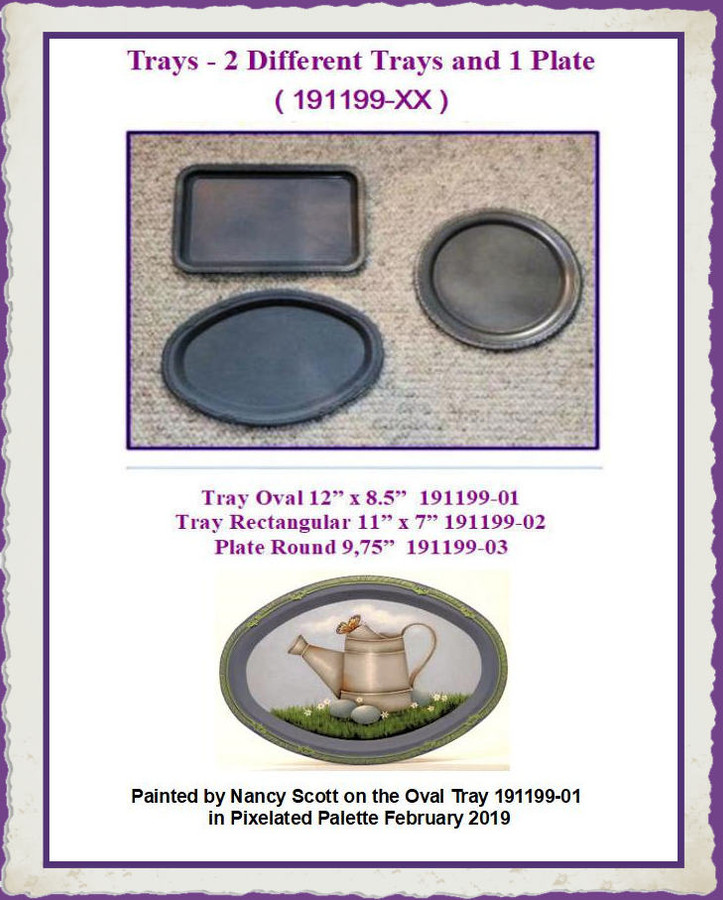 Trays - 2 Different Trays and 1 Plate (191199-XX) List Price $6.50