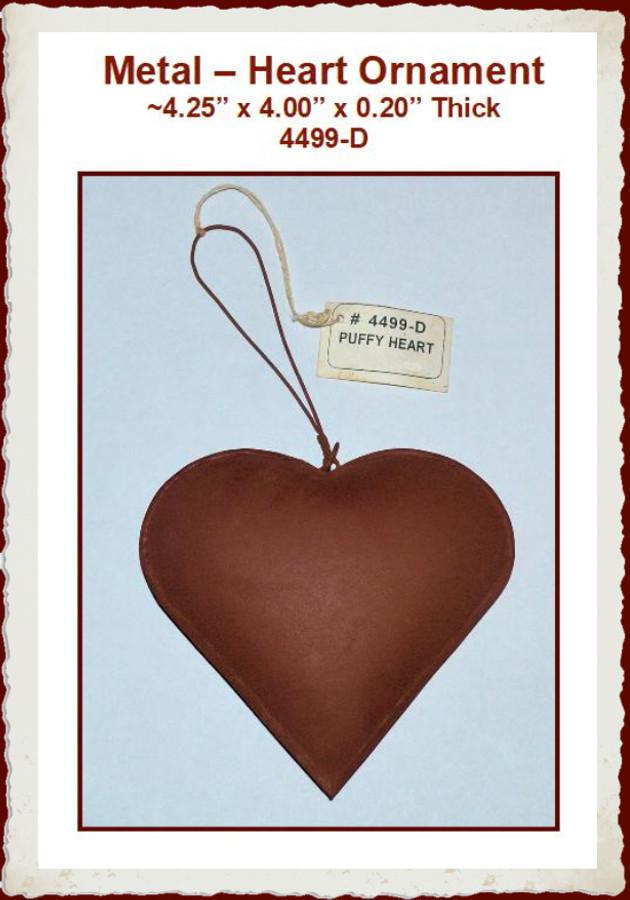 """Metal - Rusty Heart Ornament ~4.25"""" x 4.00"""" (4499-D)"""