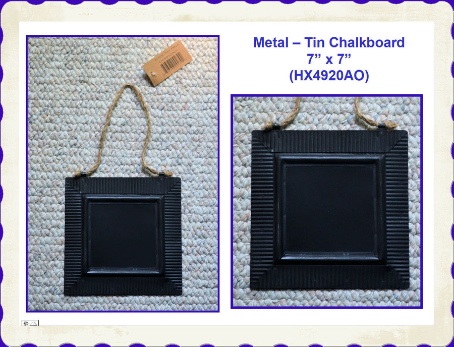 "Metal - Tin Black Square Chalkboard 7"" x 7"" (HX4920AO) List Price $6.00"