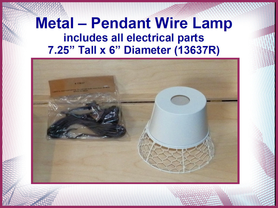 DA - Metal Pendant Wire Lamp with Electrical Parts (13637R) List Price $20.00