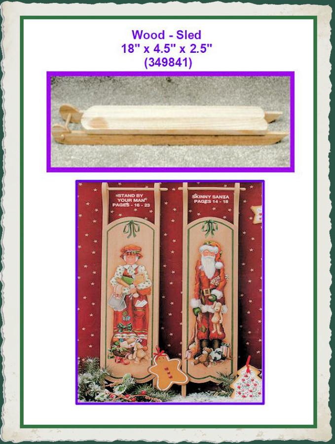 "Wood - Sled 18"" x 4.5"" x 2.5"" (349841) List Price $10.00"