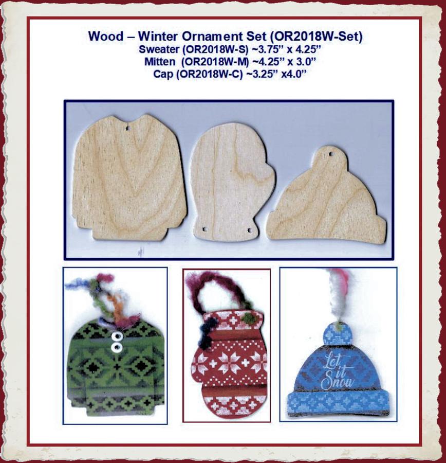 Wood - Winter Ornament Set (OR2018W-Set)