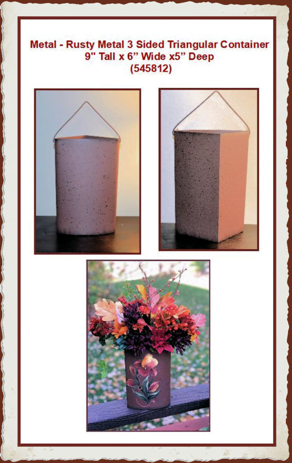 """Metal - Rusty Metal 3 Sided Traingle Container 9"""" x 4.5"""" (545812)"""