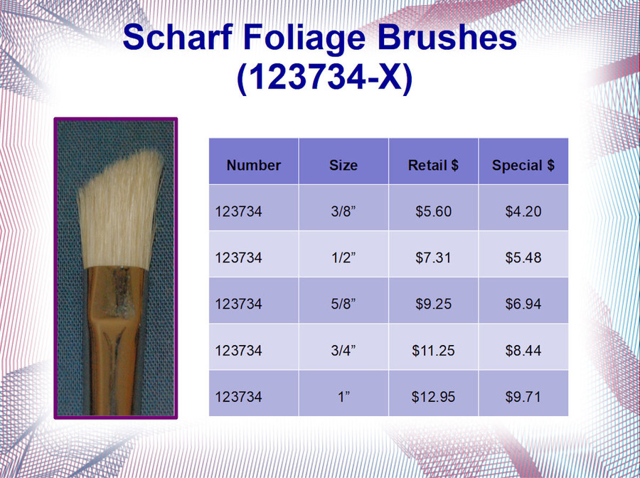 Brush - Scharff  Series 237  White Bristle Foliage Brushes (123734-X)