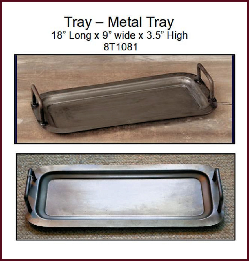 "Tray - Metal Tray with Handles 18"" Long X 9"" Wide(8T1081) List Price $25.00"