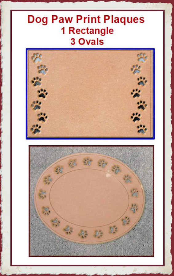 "LW - Dog Paw Print Plaques 15.5' x 11.5"" x 0.25""  (1122, 1117, 1120, 1124) List Price $18.00"