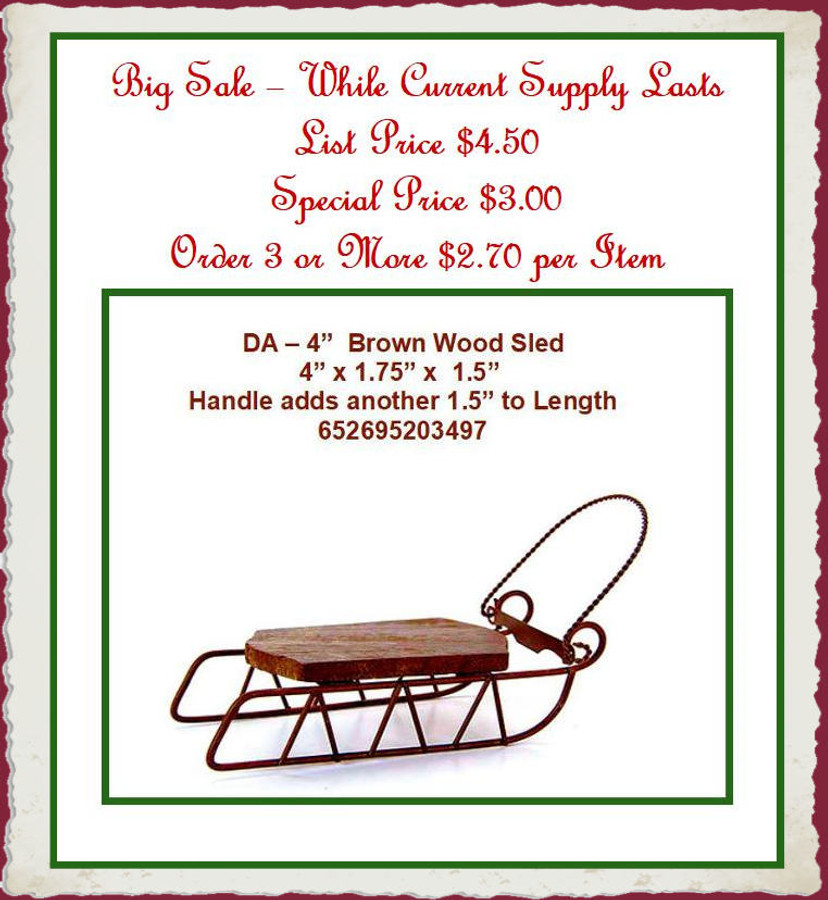 "DA - 4"" Wood Sled (652695203497) List Price $4.50"