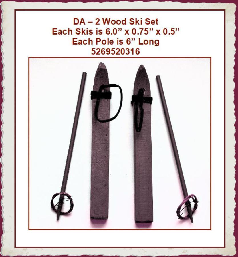 """DA 2 Wood Ski Set 6""""  x 0.75"""" x 0.50"""" (52695201316) List Price $6.00"""