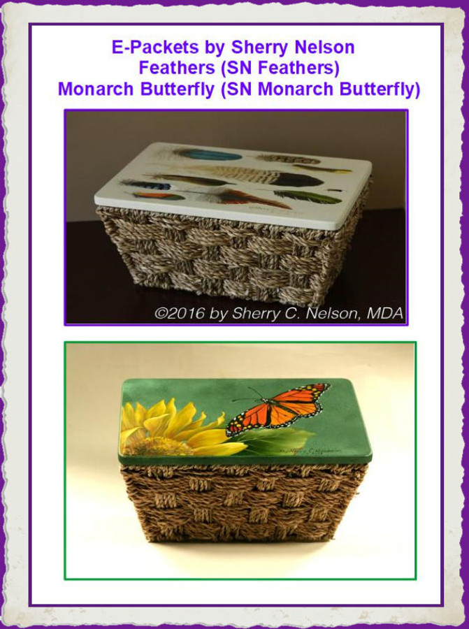E-Packet - Sherry Nelson SNEP-1-Feather, SNEP-2- Monarch Butterfly) List Price $11.00)