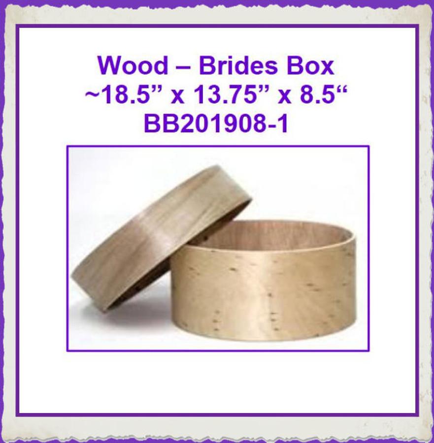"Wood - Brides Box 18.5"" x 13.7.5"" x 8.5"" (BB201908-1) List Price $50.00"
