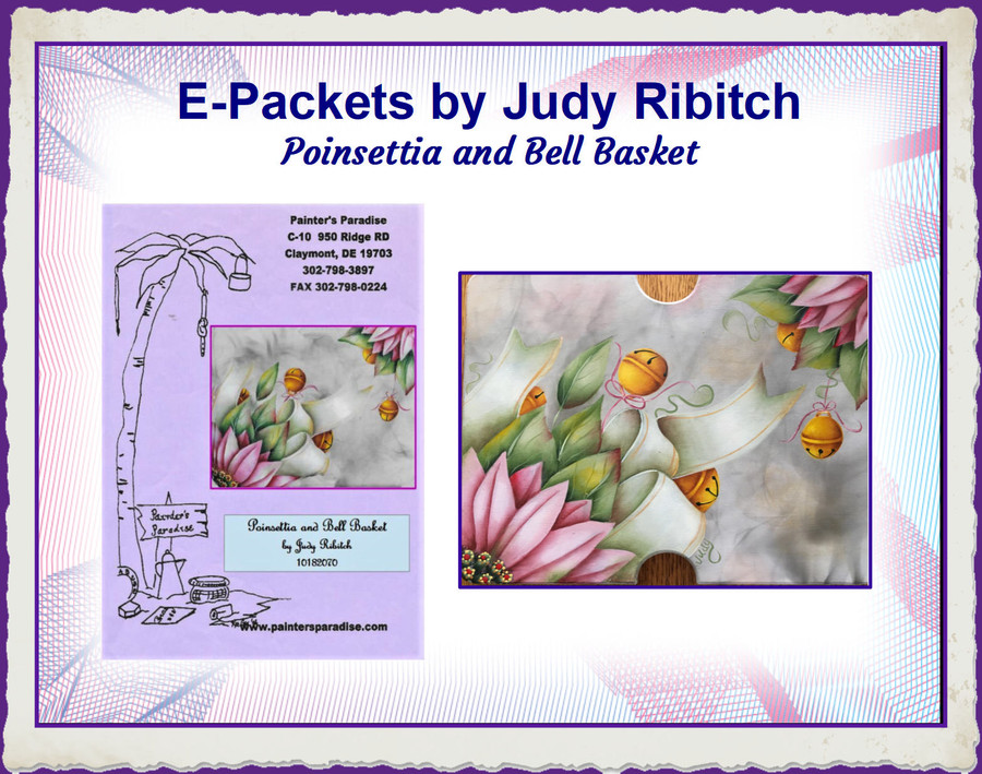 E-Packet - Poinsettia and Bell Basket by Judy Ribitch (JREP2019-1) List Price $7.00