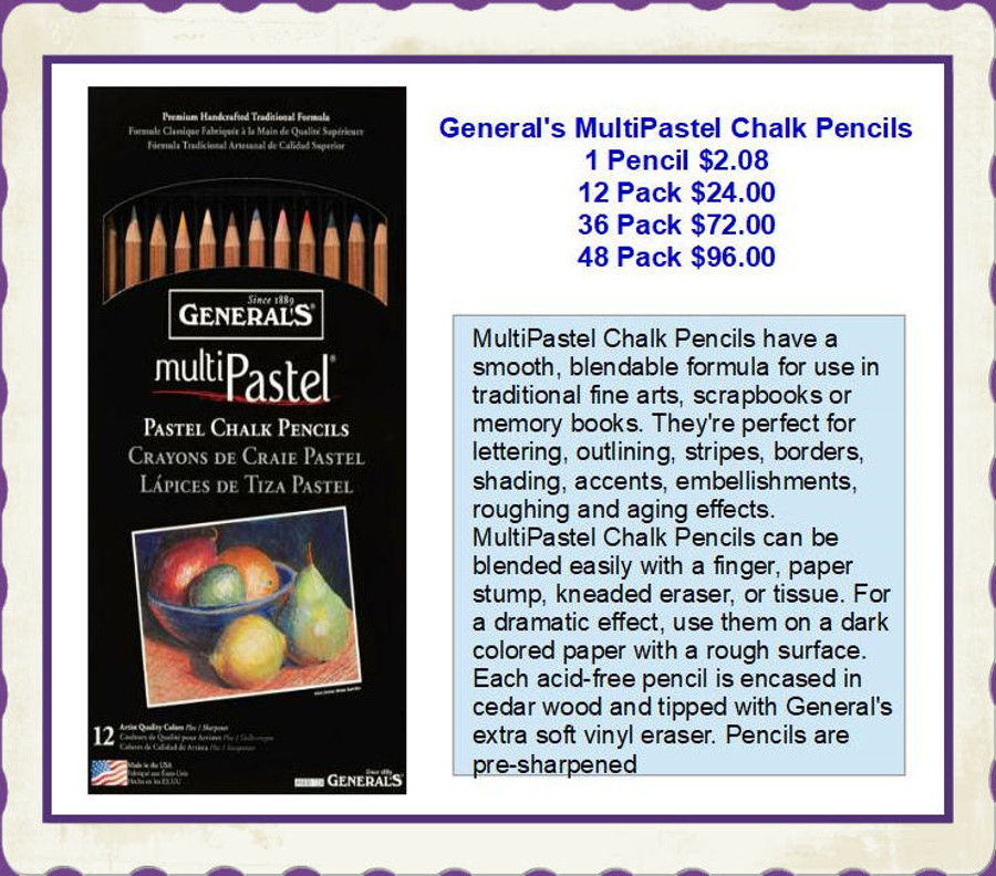 PT - General's MultiPastel Chalk Pencils (2053-XX) List Price $2.08