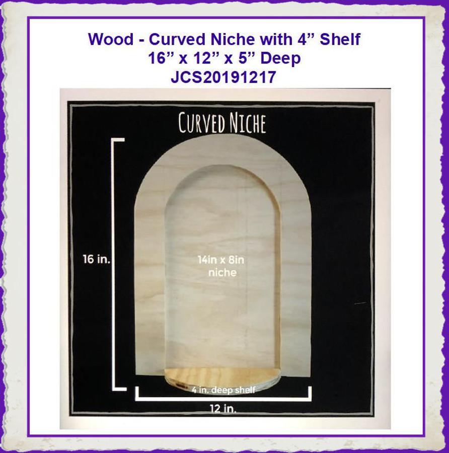 """Wood - MDF Curved Niche 16"""" x 12"""" x 5"""" (JCS20191217) List Price $17.00"""