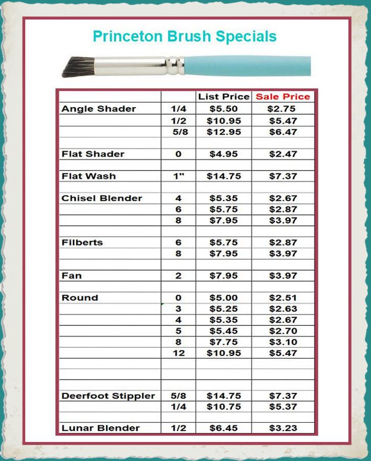 Brush - Princeton Brush Sale  50% Off List Price for Instock Items