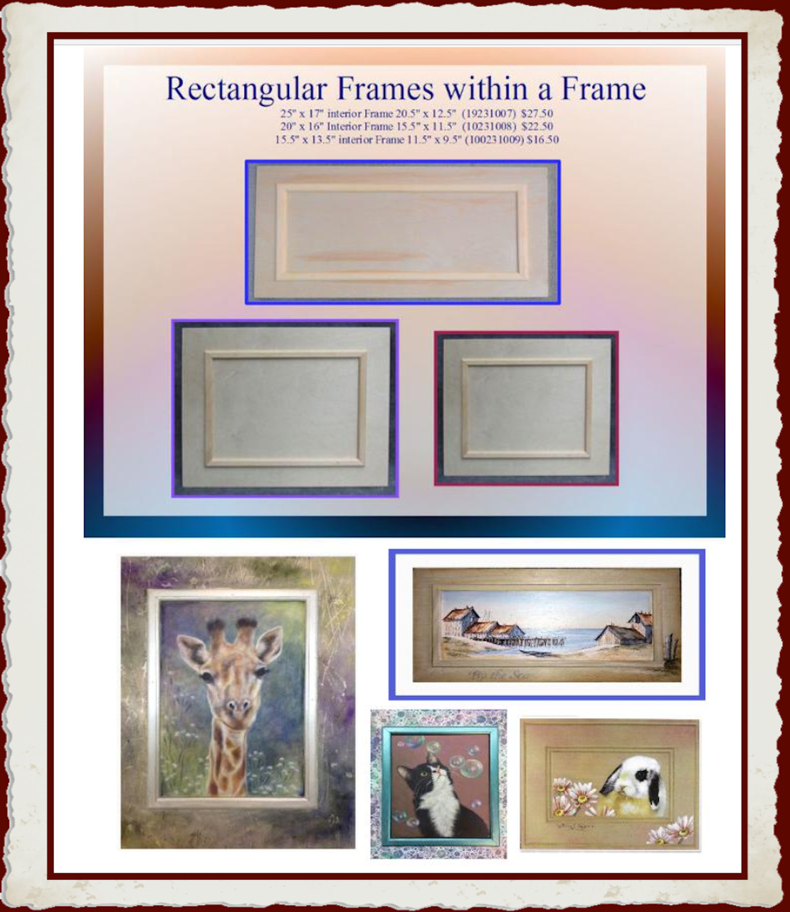 Wood Rectangular Wood Frames With Interior Frame 19231007f
