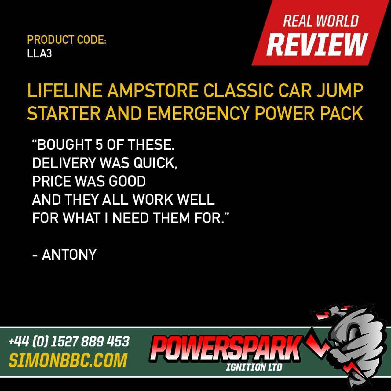 Lifeline Lifeline Ampstore Plus Classic Car Jump Starter and Emergency Power Pack