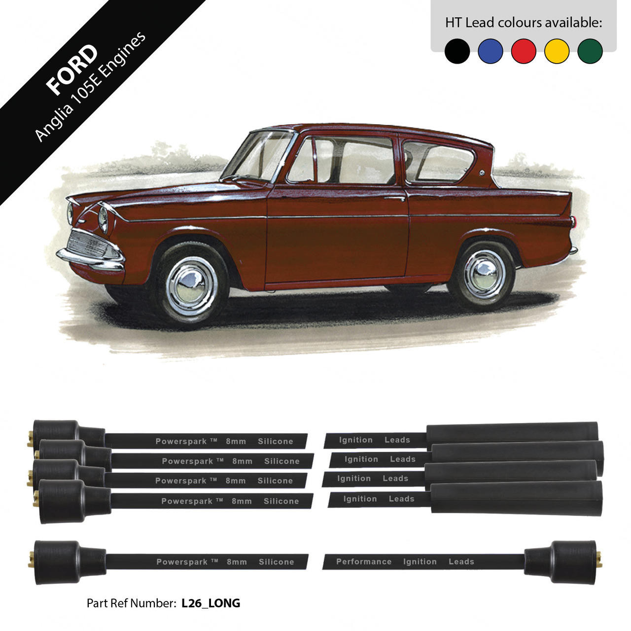 Powerspark Ford Anglia 105e HT Leads 8mm Double Silicone