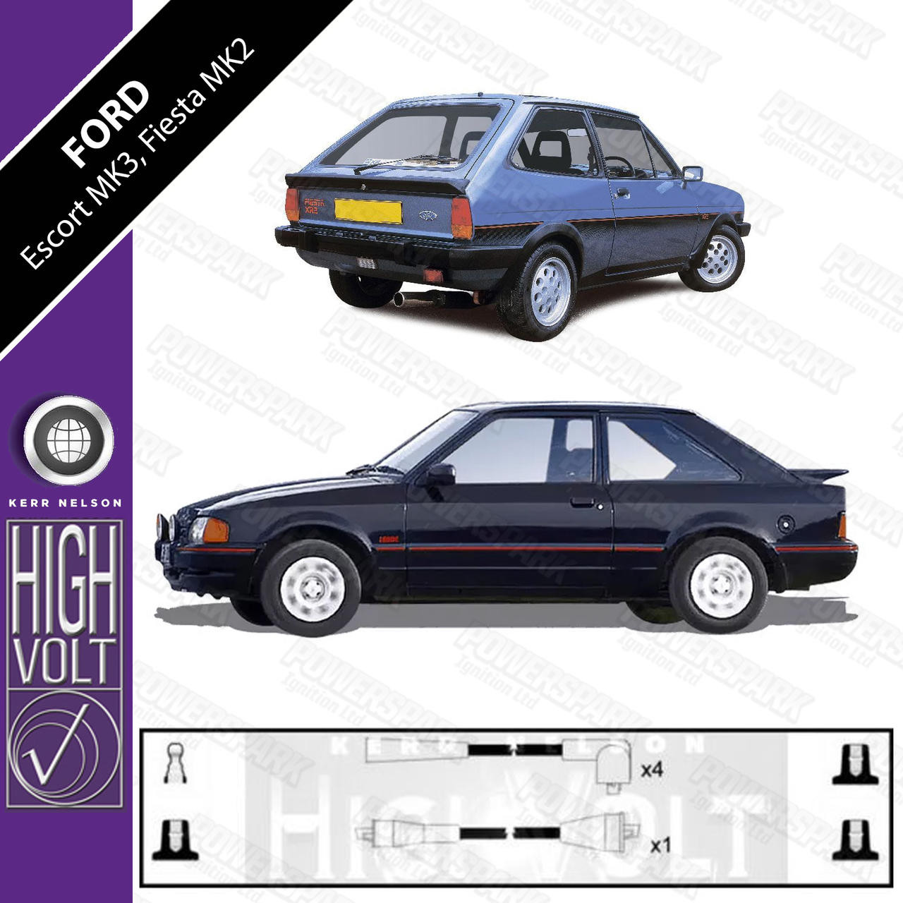 High Volt Ford Escort Mk3 and Fiesta Mk2 incl XR3i and XR2i High Volt HT Leads OEF145
