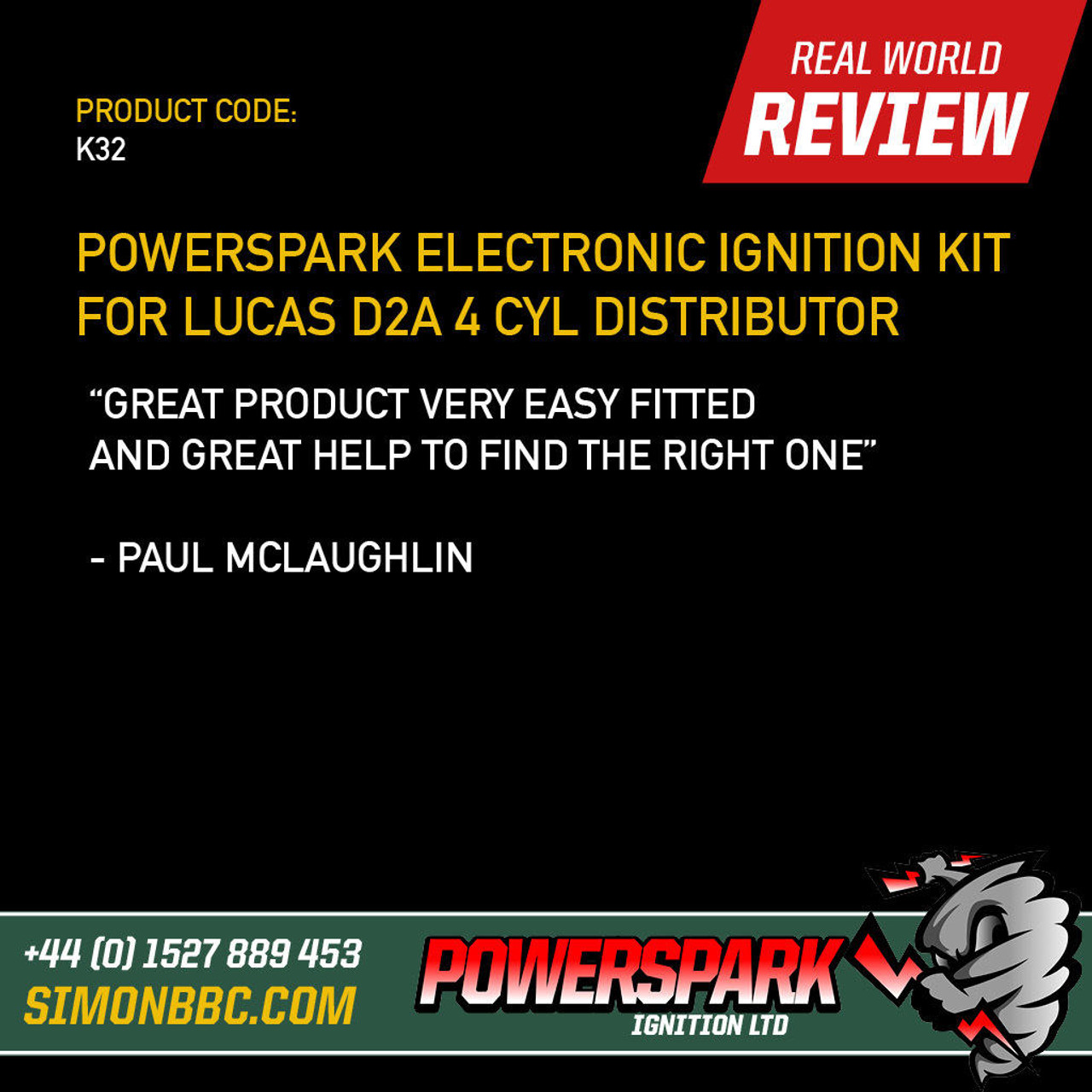 Powerspark Powerspark Electronic Ignition Kit for Lucas D2A Distributor K32