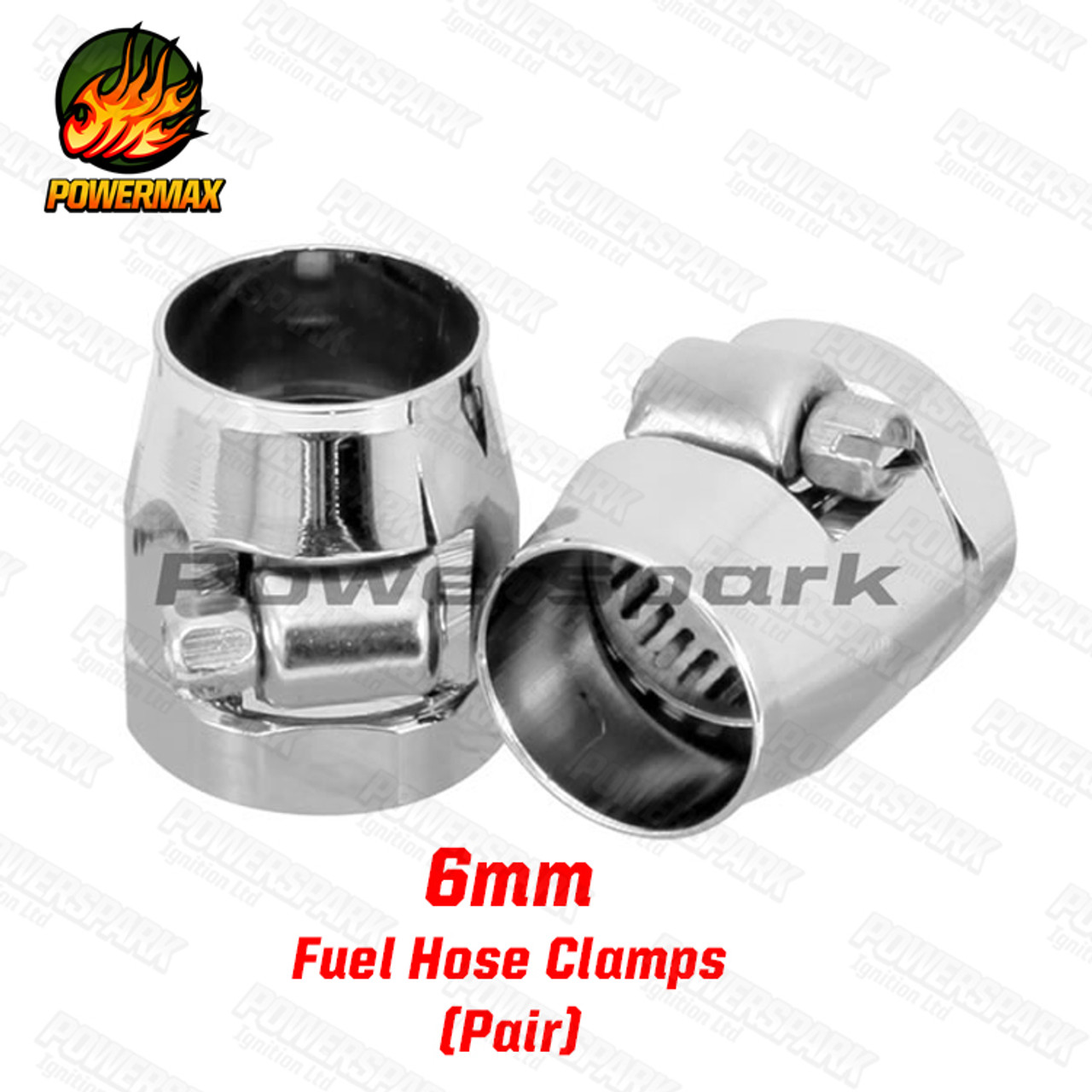 Pair of Powermax Magna Fuel Hose Clamps 6mm
