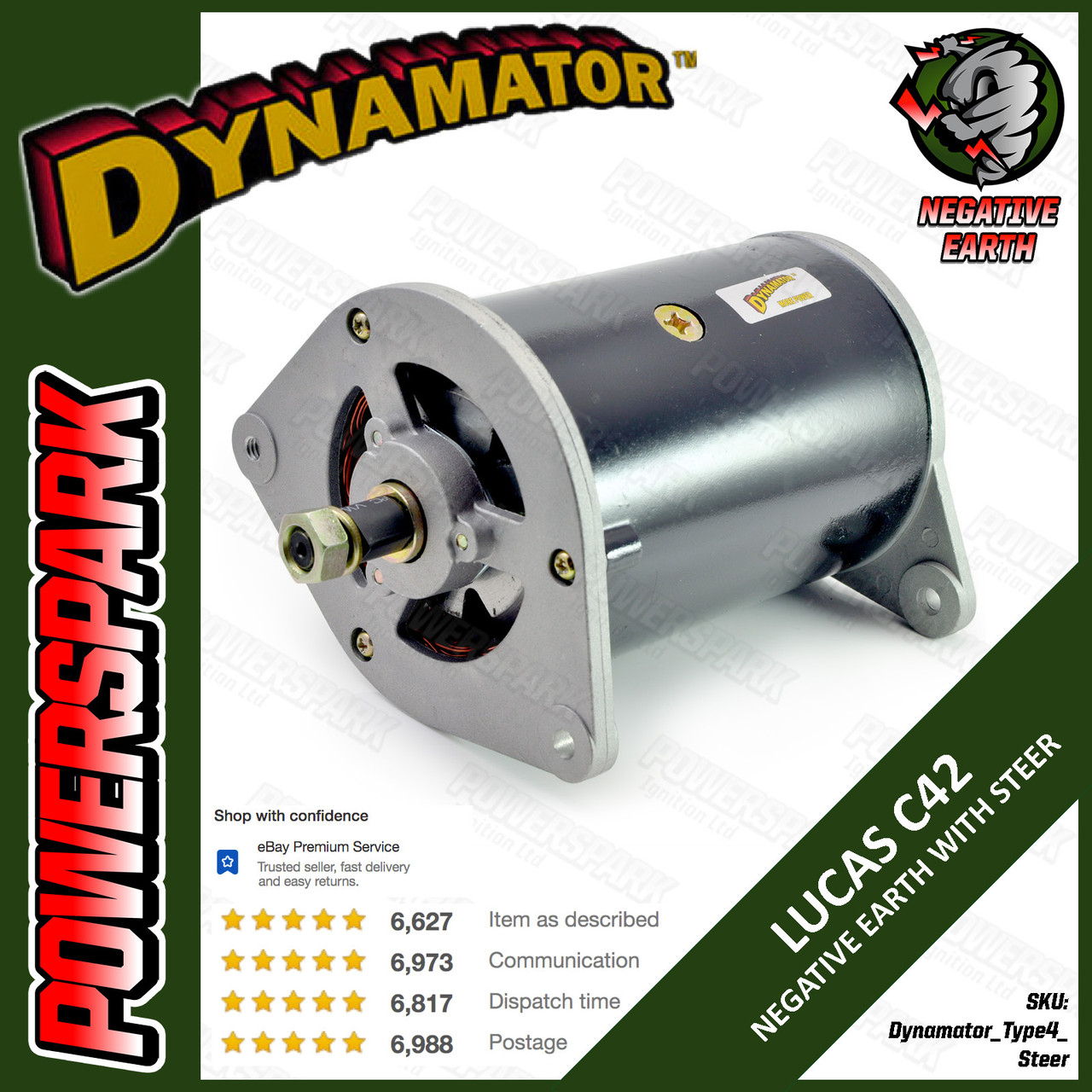 Stealth Dynamator - Dynamo to Alternator Conversion replaces Lucas C42 Dynamo - Neg Earth with Power Steering