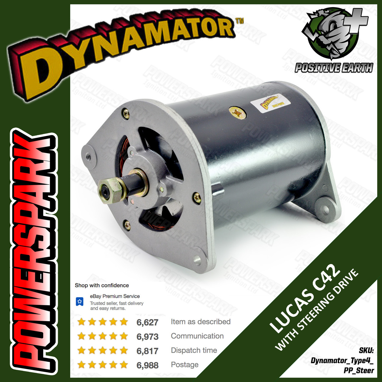 Stealth Dynamator - Dynamo to Alternator Conversion replaces Lucas C42 Dynamo - Pos Earth with Power Steering