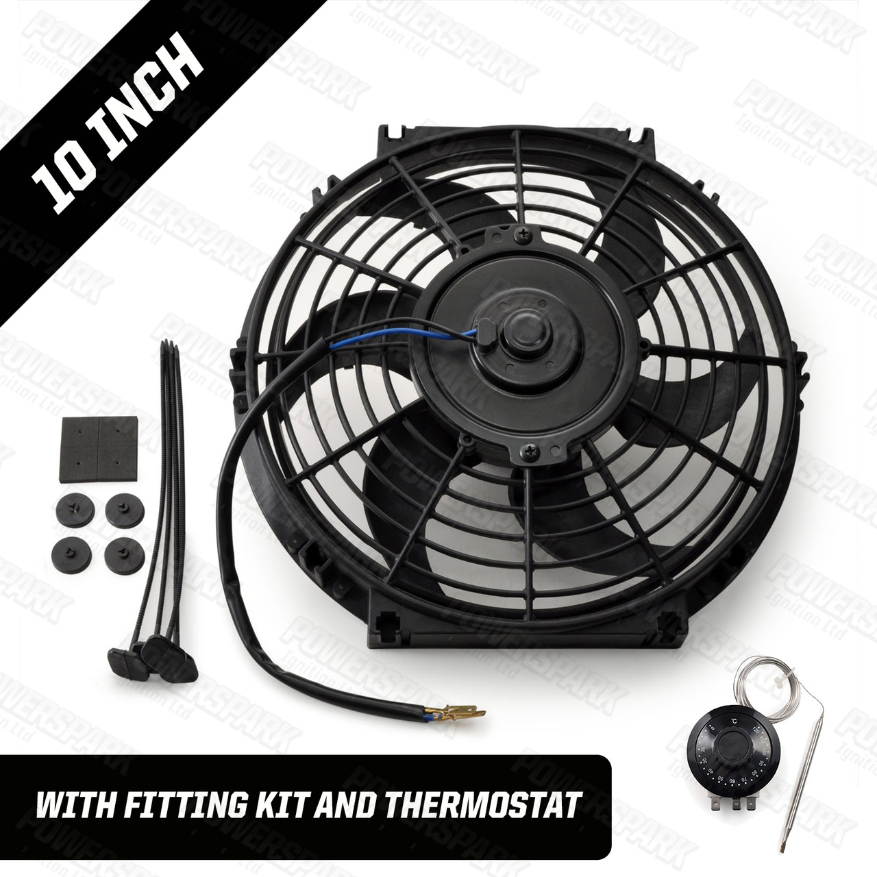 """10"""" Powermax Electric Radiator Cooling Fan with Thermostat 220W 12 Volt"""