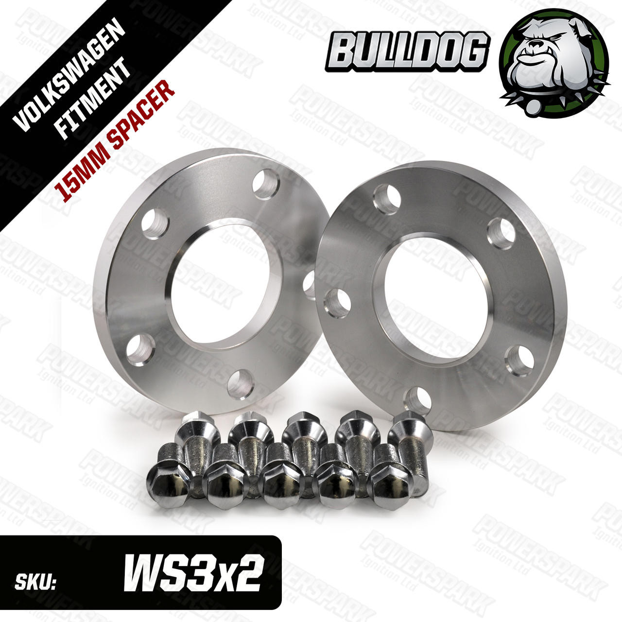 Bulldog Set of 2 Bulldog 15mm Wheel Spacers to suit Volkswagen, Audi, Skoda, Seat 5x112 PCD Wheels