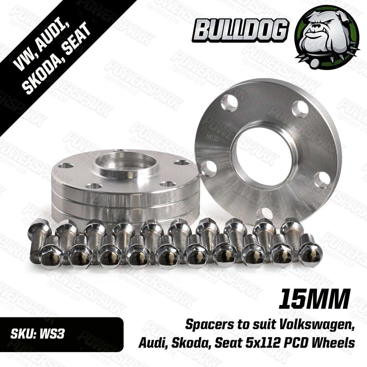 Bulldog Set of 4 Bulldog 15mm Wheel Spacers to suit Volkswagen, Audi, Skoda, Seat 5x112 PCD Wheels