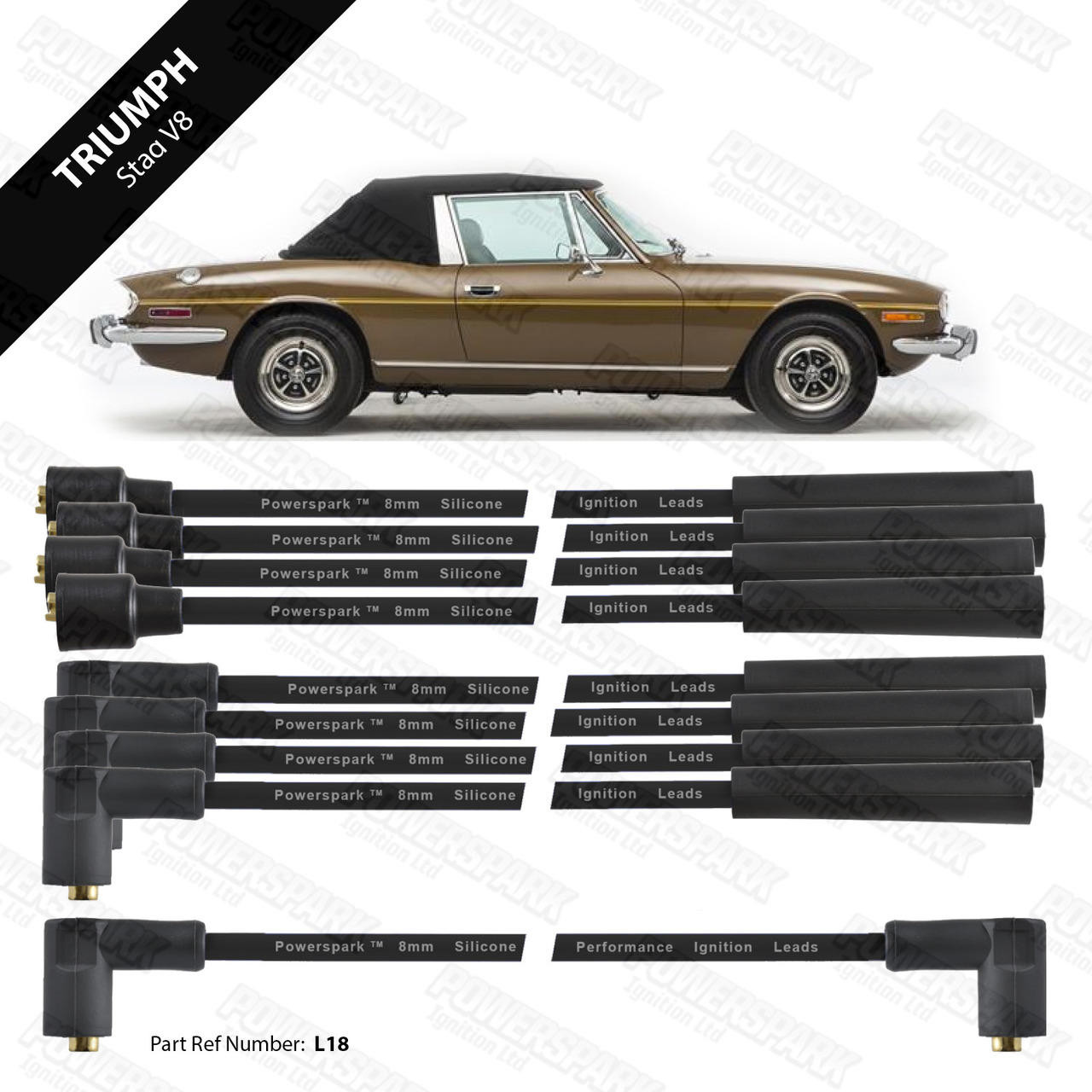 Powerspark Triumph Stag 3.0 V8 HT Leads 8mm Double Silicone