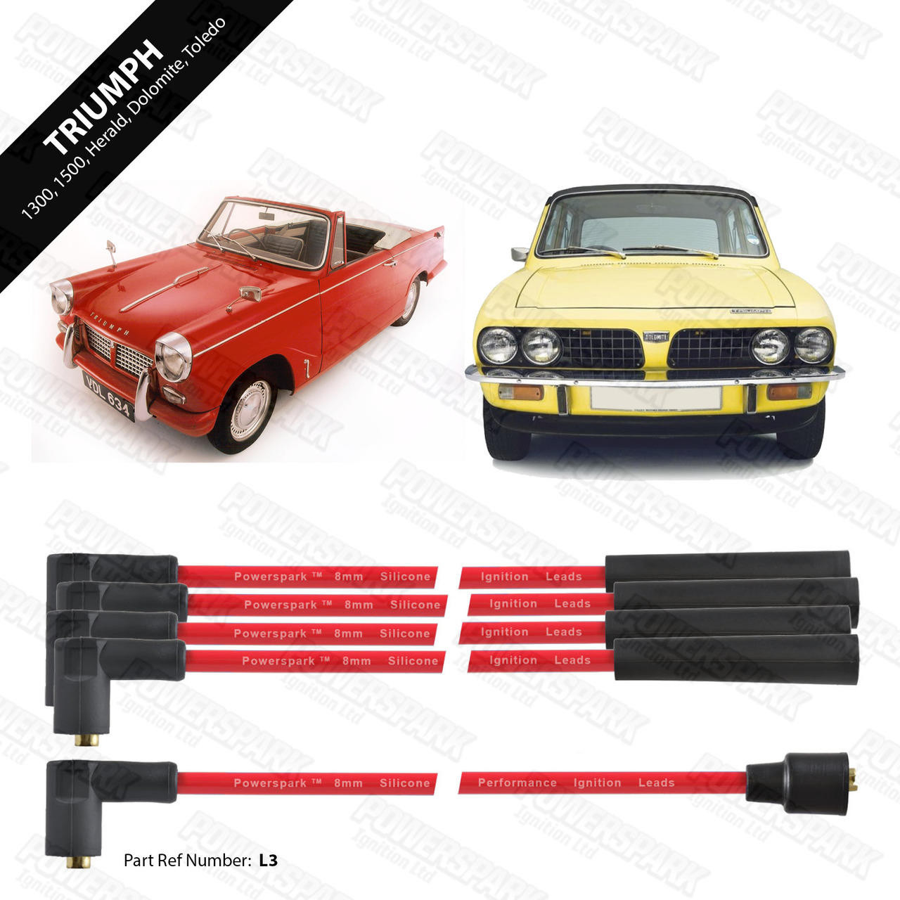 Powerspark Triumph 1300, 1500, Dolomite, Herald, Spitfire, Toledo HT Leads 8mm Double Silicone