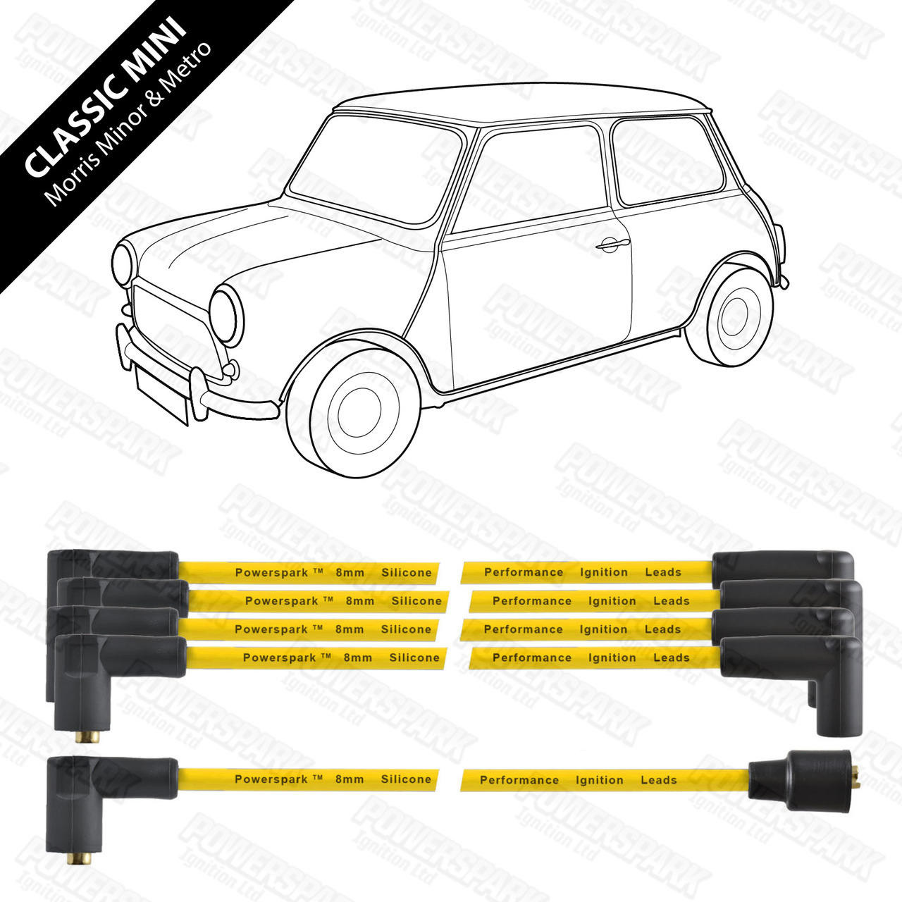 Powerspark Classic Mini, Metro and Minor HT Leads 8mm Double Silicone