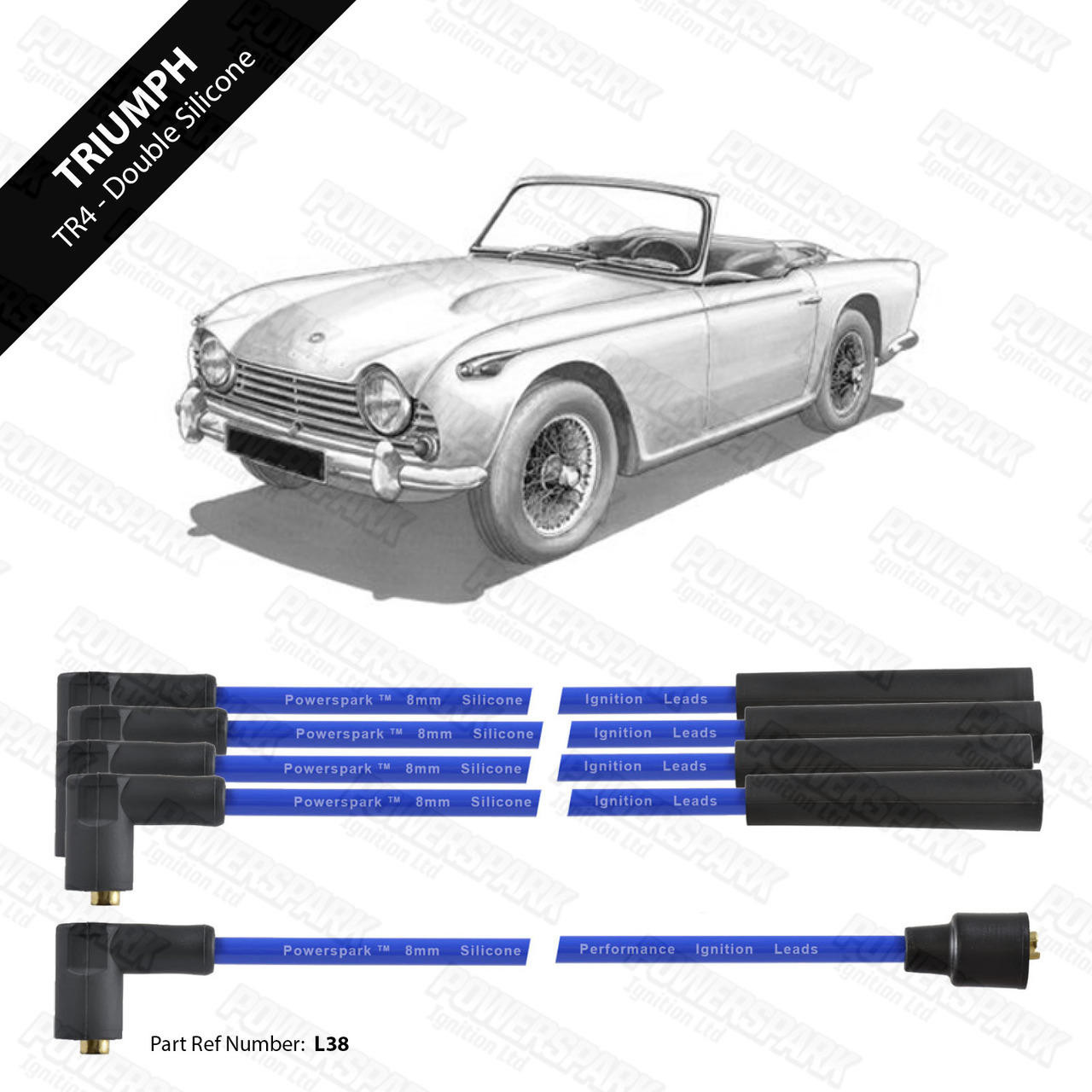 Powerspark Triumph TR2 / TR3 / TR4 and Triumph Engined Morgan Plus4 HT Leads 8mm Double Silicone