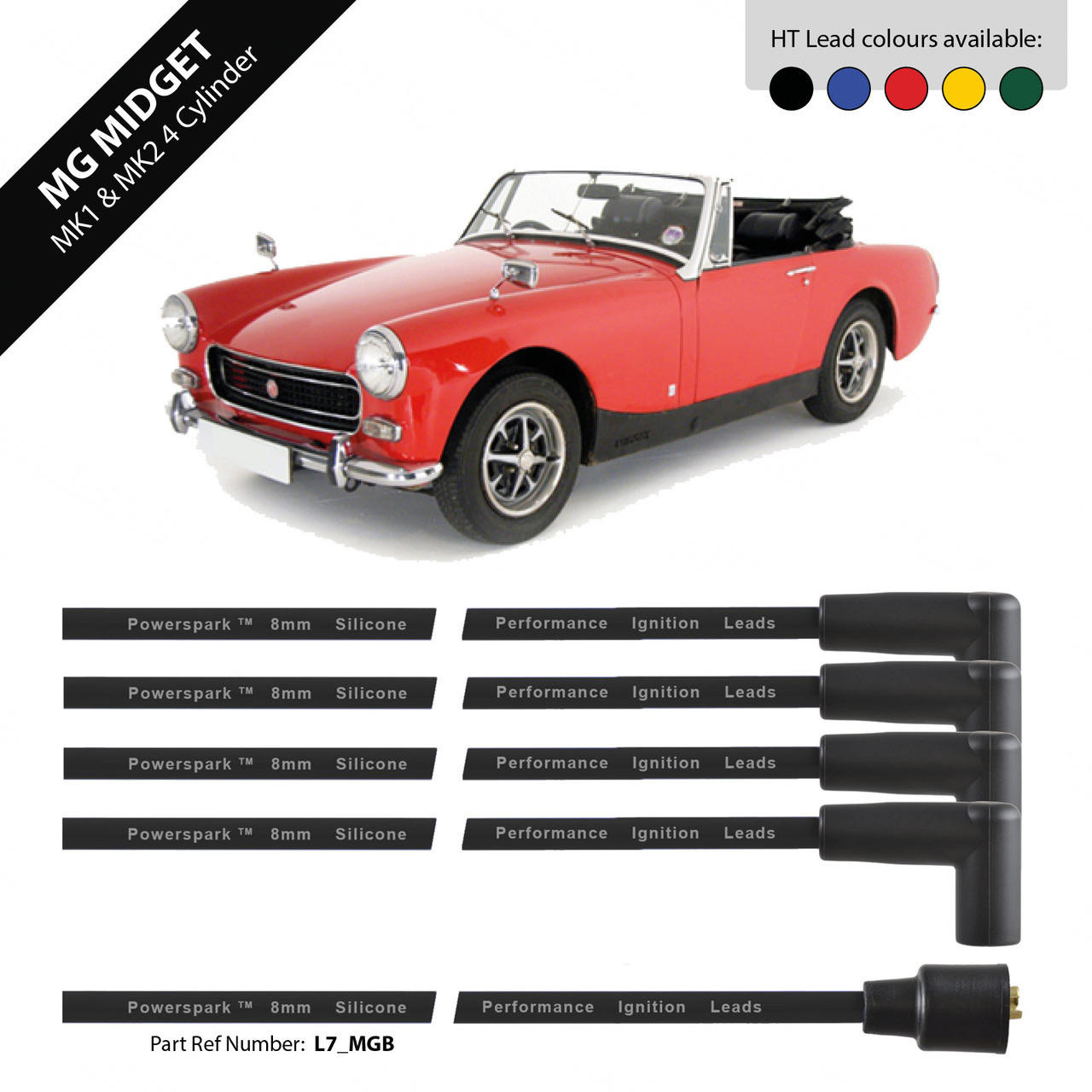 Powerspark MG Midget MK1, MK2 HT Leads 8mm Double Silicone